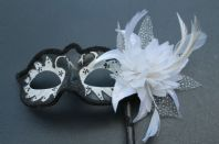 White & Black Flower Mask
